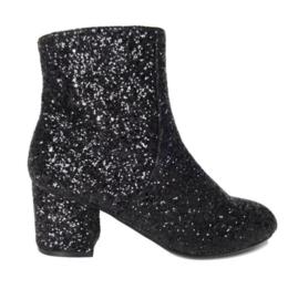Dameslaarzen, zwart met glitter en hakje