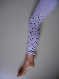 Legging wit met marine blauwe stippen