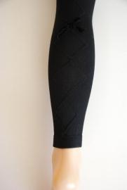 Legging met ingeweven ruit & strikje - zwart
