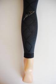 Legging met ingeweven ruit & strikje - antracietgrijs