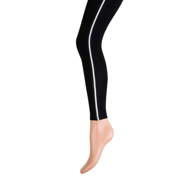 Effen zwarte legging met witte streep