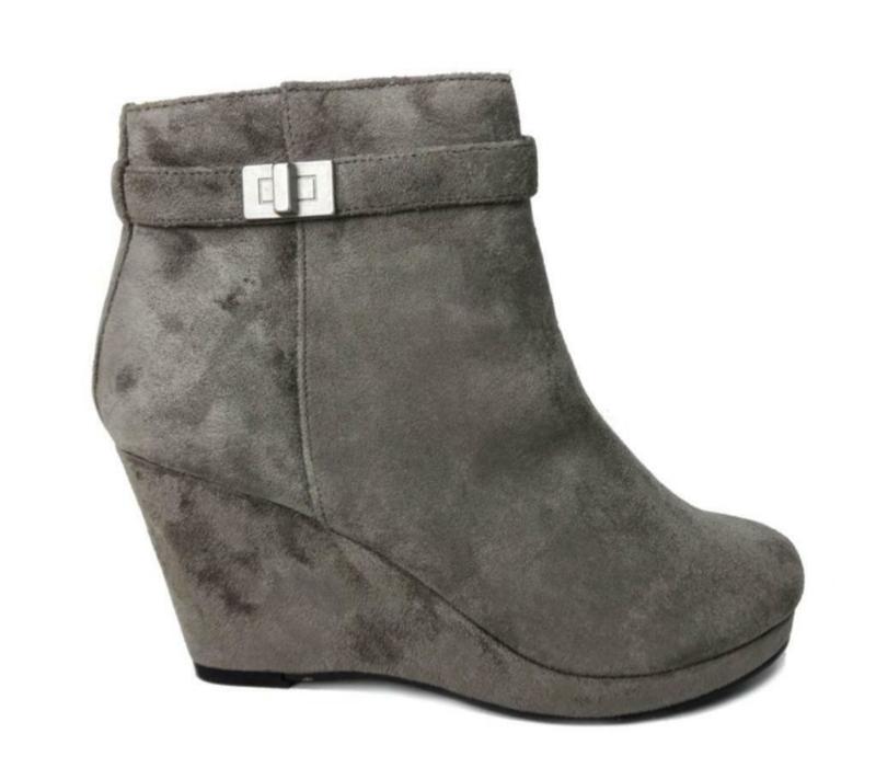Dameslaarzen, grijs met sleehak