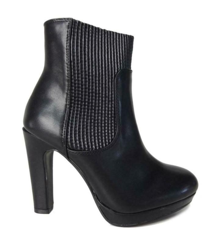 Dameslaarzen,  zwart met elastieken zijkanten