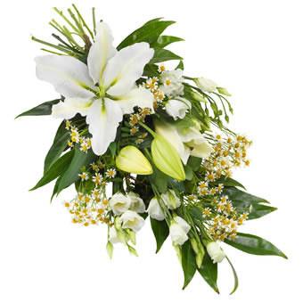 Rouwboeket witte lelies