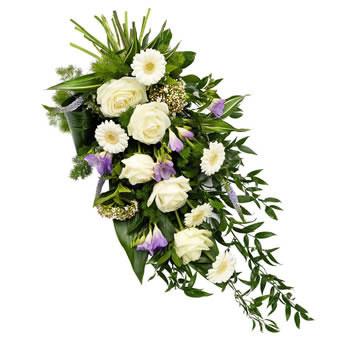 Rouwboeket in wit en lila