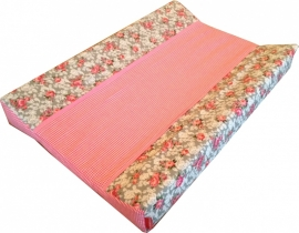 Aankleedkussenhoes Grijze Bloemetjes Roze