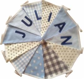 Vlaggetjes met naam: ontwerp Julian