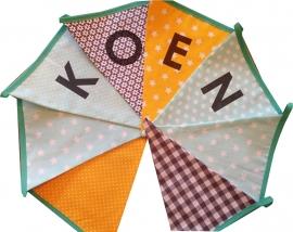 Vlaggetjes met naam: ontwerp Koen