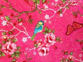 Ledikantdeken Vogels en Vlinders Roze