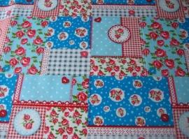 Tafelkleed Patch Roosjes Blauw