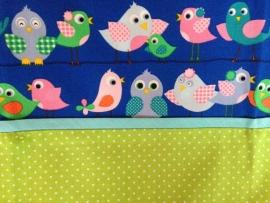 Aankleedkussenhoes Donkerblauwe Vogeltjes