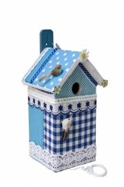 (Muziek) Vogelhuisje  Blauwe stippen met ruitjes (nr. 34)