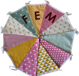 Vlaggetjes met naam: ontwerp Fem regenboogjes
