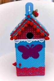 (Muziek) Vogelhuisje Blauw met een beetje rood (nr. 43)