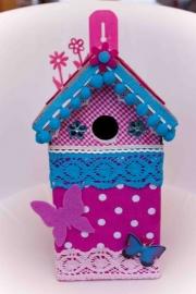 (Muziek) Vogelhuisje Blauw met roze vlinders (nr. 42)