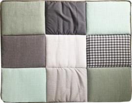 Boxkleed / Speelkleed: Zeegroen - Poedergroen met grijs en mintgroen