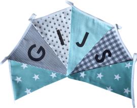 Vlaggetjes met naam: ontwerp Gijs zeegroen grijs