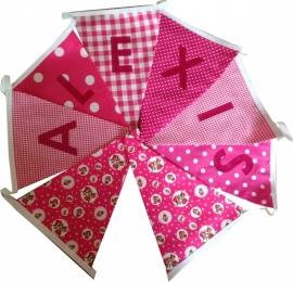Vlaggetjes met naam: ontwerp Alexis