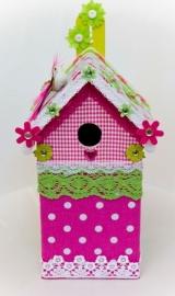 (Muziek) Vogelhuisje Groen met roze bloem (nr. 39)