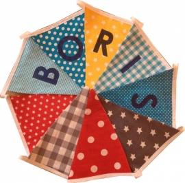 Vlaggetjes met naam: ontwerp Boris