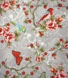 Vogels en vlinders Grijs