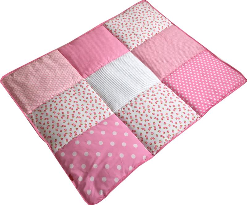 Boxkleed / Speelkleed: Bloemetjes Lichtroze Roze