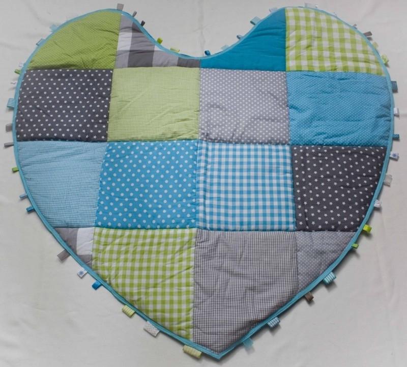 Hartvormig Boxkleed/ Speelkleed Blauw/Groen/Grijs