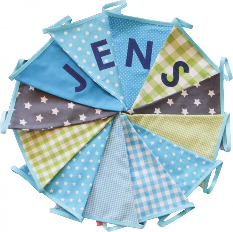 Vlaggetjes met naam: ontwerp Jens