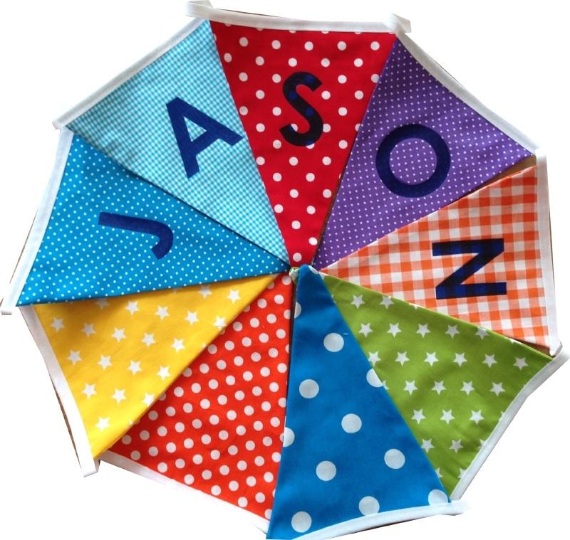 Vlaggetjes met naam: ontwerp Jason