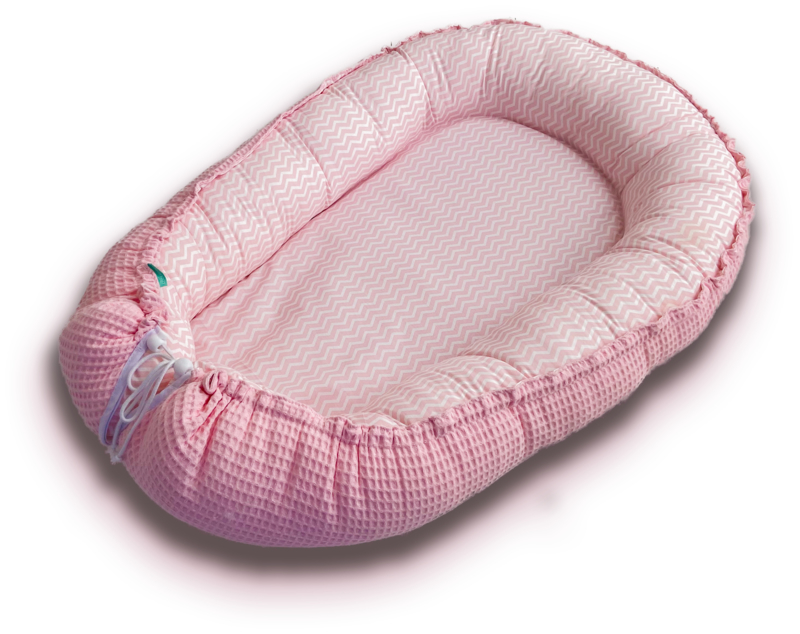 Babynestje Zachtroze zigzag met Roze wafelstof