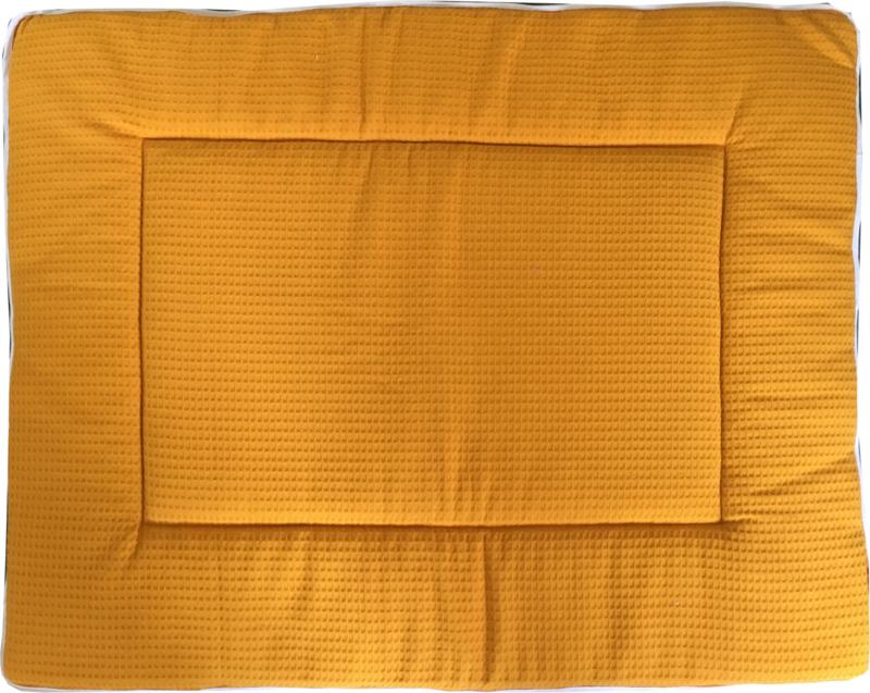 Boxkleed/ Speelkleed: Wafelstof okergeel 80 x 100 cm