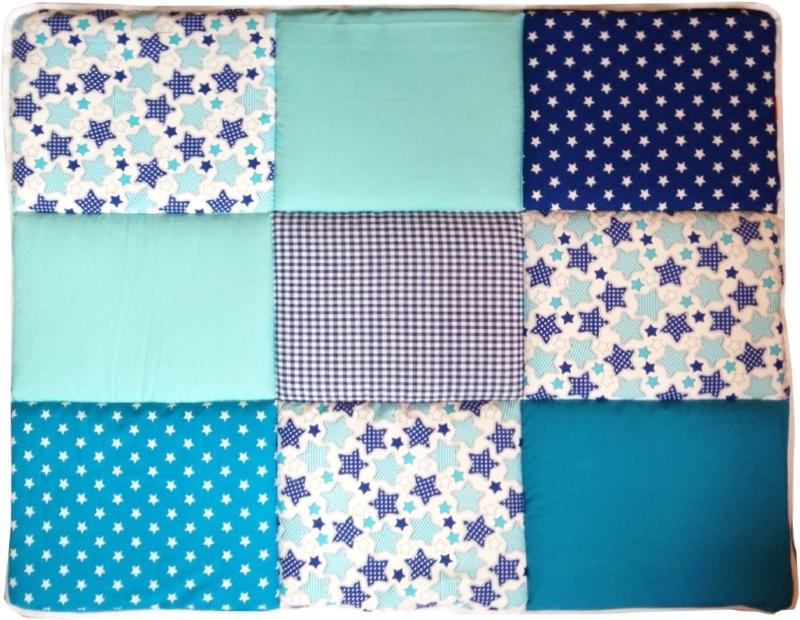Boxkleed / Speelkleed: Donkerblauwe en Aquablauwe sterren