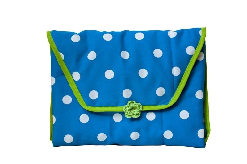 Verschoonmatje Blauwe stippen met groen