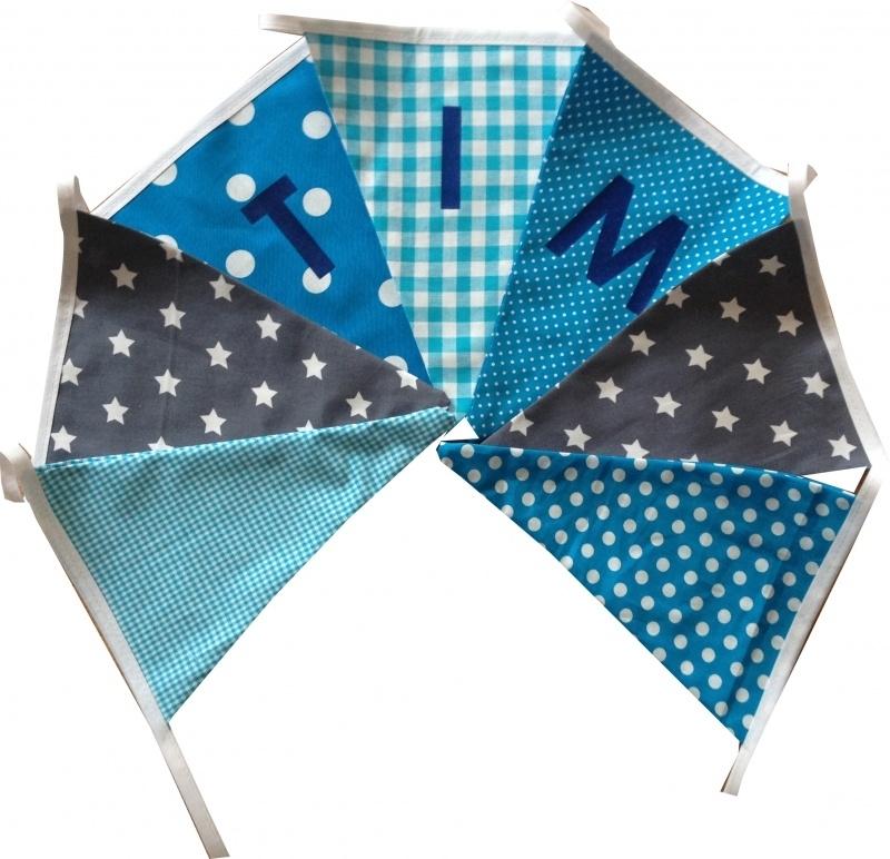 Vlaggetjes met naam: ontwerp Tim