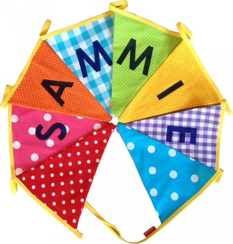 Vlaggetjes met naam: ontwerp Sammie