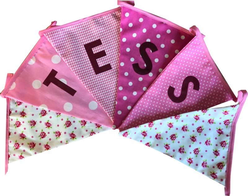 Vlaggetjes met naam: ontwerp Tess