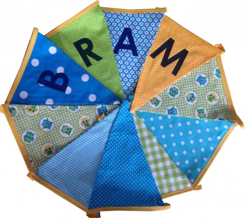 Vlaggetjes met naam: ontwerp Bram
