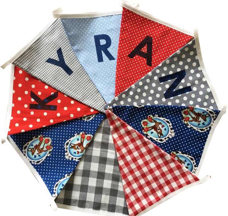 Vlaggetjes met naam: ontwerp Kyran