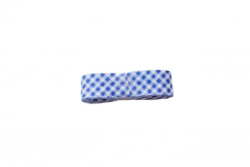 Biaisband Donkerblauw ruitje