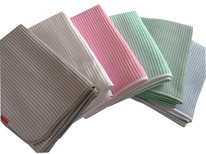 Wiegdeken wafelstof mint roze grijs zeegroen