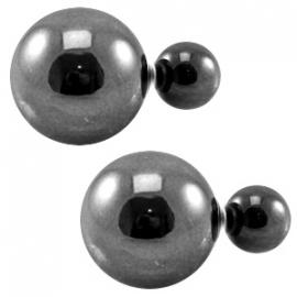 Double pearl oorbellen Metallic antraciet zilver