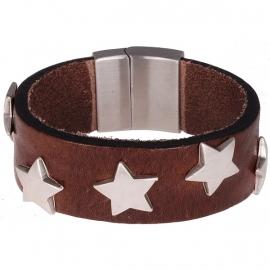 Lederen armband met RVS sterren