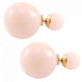 Double pearl oorbellen vintage rose