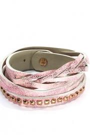 Wikkelarmband met studs roze