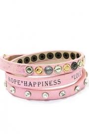 Wikkelarmband met Love * Hope * Hapiness roze