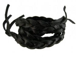 Gevlochten leren wrap armband zwart