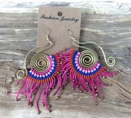 Ibiza orignals oorbellen roze/blauw