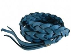 Gevlochten leren wrap armband aqua