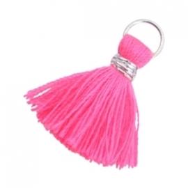 Ibiza kwastje zilver-neon roze