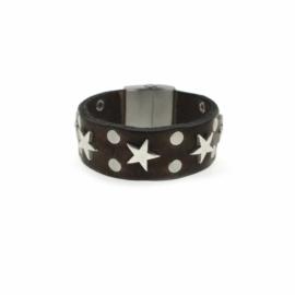 Lederen armband met RVS sterren en studs